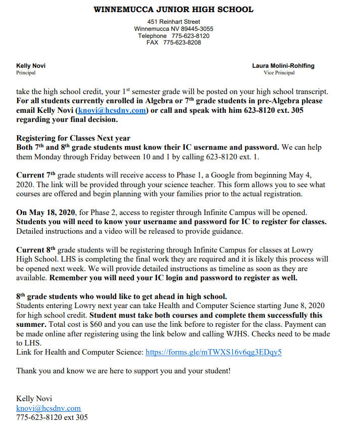 Principal Announcement - Page 2 - 5/4/2020